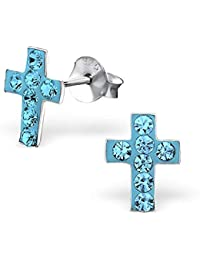 f161c297a264 So Chic Joyas© pendientes niño Cruz Cristo Crucifijo pedrería cristal ...