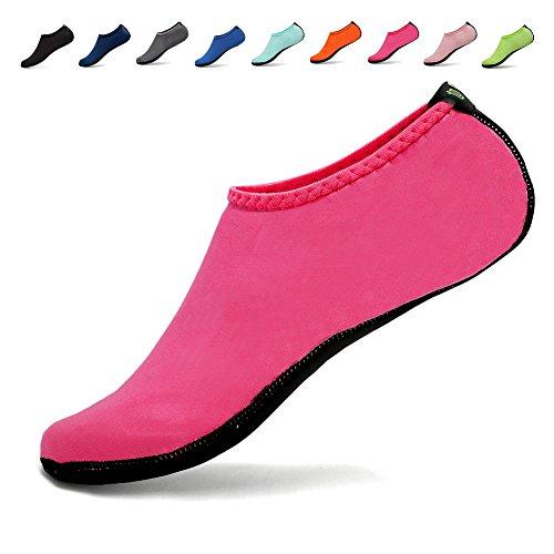 DADASIY 3rd Upgraded Version Durable Sole Barefoot Water Skin Shoes Aqua Socks For Beach Pool Sand Swim Surf Yoga Water Aerobics Pink 9z0wH
