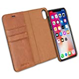 KANVASA Housse iPhone XS Max Case Cuir Marron 2-in1 Portefeuille Couvercle...