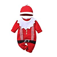 Christmas Costume Newborn Baby Boys Girls Christmas Outfit Romper with Hat Clothes Sets Red