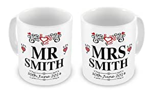 Pair of Personalised Mr & Mrs Novelty Gift Mugs With Date