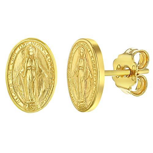 Pendientes de tuerca de plata de ley 925 con medalla ovalada de la Virgen María Religiosa