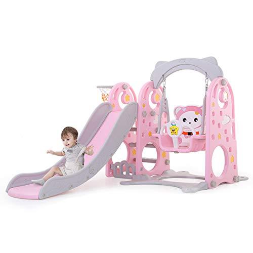 XWQYY 3-en-1 Centro de Juego de Actividades de guardería Infantil con tobogán y Columpio de Olas Ajustables con aro de Baloncesto,Pink-OneSize
