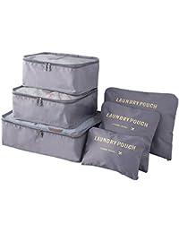 BlueBeach® Set di 6 Organizzatori di viaggio imballaggio cubi di lavanderia sacchetto dei bagagli Compressione Sacchetti Bag in sacchetto dell'organizzatore per i vestiti