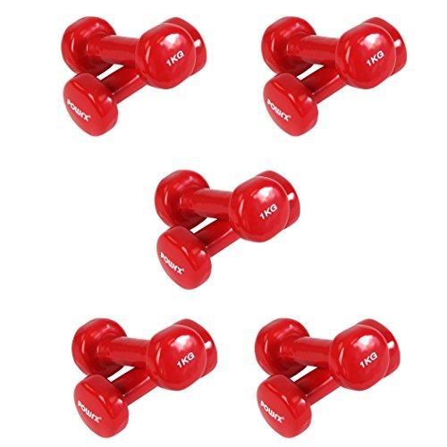 Manubri pesi in VINILE - Ideali per la TONIFICAZIONE a casa propria o in palestra dei muscoli bicipiti, tricipiti, deltoidi e pettorali - Set composto da 5 coppie di MANUBRI da 1 kg - Colore: rosso