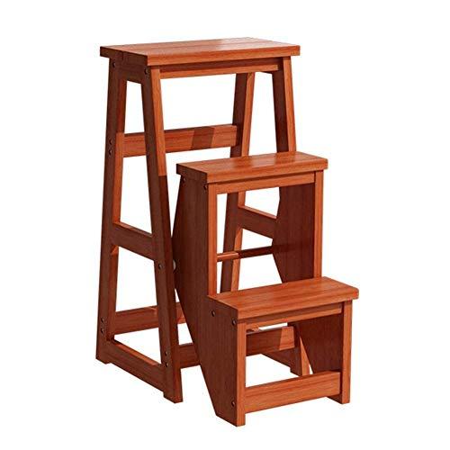 Praktischer 3-Stufen-Klappleiter-Blumenständer aus Holz, Küchenbarhocker - 30-Zoll-Höhenleiter für Kinder und Erwachsene, Bibliotheks-Trittleiter, Tragkraft 150 kg KADJ (Color : Light Walnut Color.)