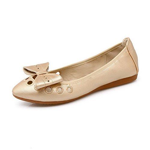AalarDom Damen Weiches Material Ziehen Auf Spitz Zehe Niedriger Absatz Pumps Schuhe Golden-Pu Leder