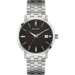 Bulova Men's Designer Watch Stainless Steel Bracelet - Black Dial Classic Aerojet 96B244