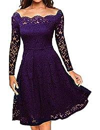 Xmiral Women Dress Off Shoulder Lace Formal Evening Party Dress Long Sleeve Knee-Length Vintage