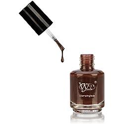 Esmalte para estampado de Vylet-Nails, Marrón oscuro, 15 ml, endurece al contacto con el aire