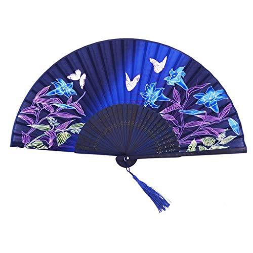 Faltbarer Handventilator Silk Chinese Fan Folding Hand Seide Bambus Drucke Fan Vintage Retro Style Handmade Fashion Fan (Color : Blue) - Schwarze Exotische Mini