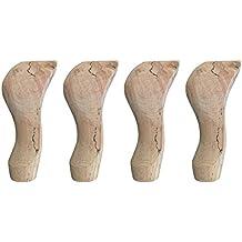 Patas de madera de haya, estilo Reina Ana (15 cm), conjunto de 4 unidades, para mesas, muebles, etc.