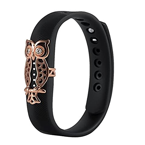 For Fitbit Flex 2 Bands,ZhengYue Metal Ornament Protector Case Bling Jewelry Accessory Stainless Steel,Plated Rose Gold Owl Case