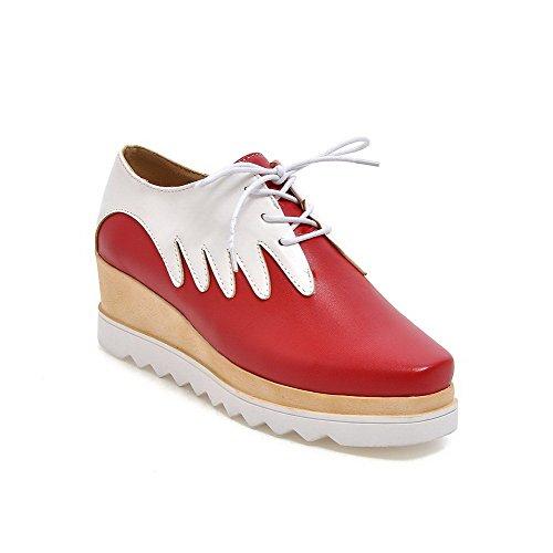 Odomolor Femme Carré Fermeture DOrteil Matière Souple Couleurs Mélangées Lacet Chaussures Légeres Rouge