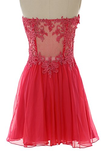 MACloth Women Strapless Cocktail Dress Lace Chiffon Mini Prom Party Formal Gown Braun