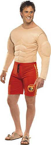 Damen Rettungsschwimmer Baywatch Kostüm (Smiffys, Herren Baywatch Rettungsschwimmer Kostüm, Muskelbrust und Angesetzte Shorts, Größe: L,)