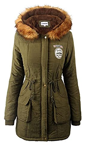 mantel damen lang winter parka Armee Grün fellimitat fellkapuze jacken pelz fell,Etikett US14