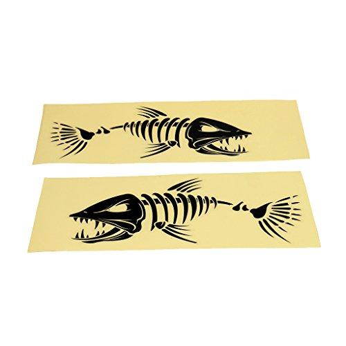 Preisvergleich Produktbild 2 Stücke Wasserdichter Aufkleber / Deko Sticker auf Fischerboot,  Kajak,  Kanu,  Paddeln,  Paddelboot,  Bootaufkleber / Autoaufkleber - Fisch Skelett