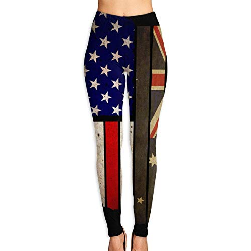 Deglogse Pantaloni da Yoga, Leggings da Allenamento,Women's Power Flex Vintage USA Australia Flag Yoga Pants Tummy Control Workout Running Leggings