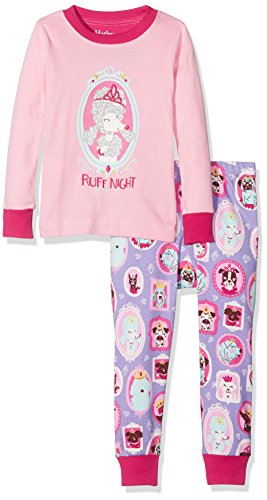 Hatley Mädchen Long Sleeve Appliqué Pyjama Sets, Pink (Pup Portraits), 10 Jahre (10 Pjs)
