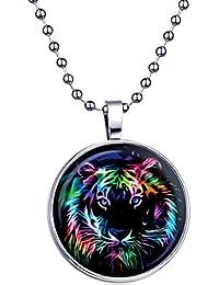 Yumi Lok Punk Rock cabeza de tigre la oscuridad, para colgante collar aleación medallón kettenänhanger para mujer Chica, luz azul