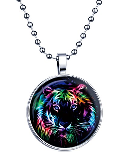 Yumilok Punk Rock Tiger-Kopf Nachtleuchtend Anhänger Halskette Legierung Medaillon Kettenänhanger für Damen Mädchen, Blaues Licht (Tier-womens Rock)