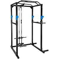 TecTake Kraftstation Fitnessstation Power Rack Power Cage | Klimmzug-Doppelstange | Robuster Rahmen aus Stahlrohr Modelle