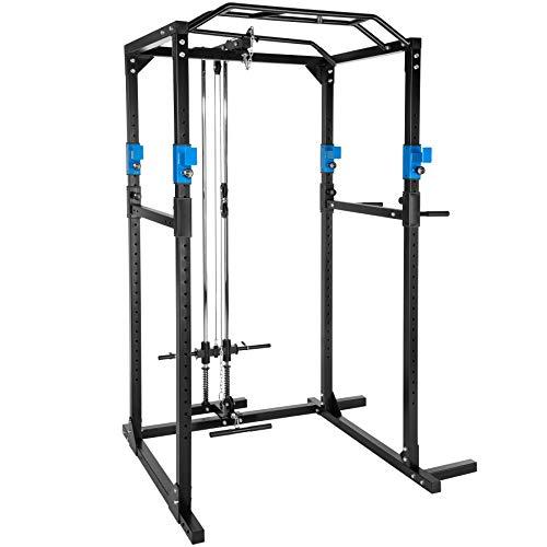 TecTake Station de Musculation Cage de Musculation | Double Barre de Traction | Barres à dips emboîtables - diverses Couleurs et modèles (Bleu Noir LAT | No. 402598)