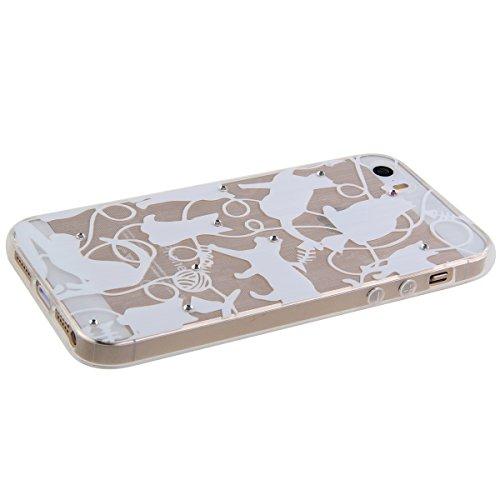 Custodia per iphone 5, Ultra Slim Case per Apple iphone 5S, iphone 5/5S Plus Case Cover, Ukayfe Trasparente Morbido Copertura per iphone 5, TPU Crystal Clear antigraffio con blu piuma Cover posteriore Bianco Lace-gattino