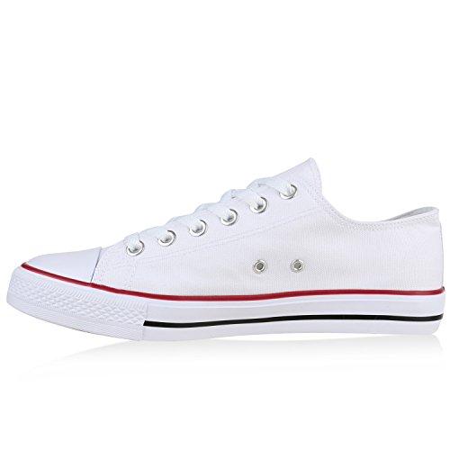 Herren Sneakers Sportschuhe Freizeit Schuhe Schnürer Stoffschuhe Weiß