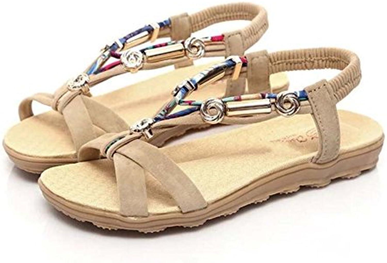 Sandalias Planas para Mujer Sandalias de Playa con Cuentas Sandalias Informales Negro/Rojo/Beige Talla 36-42