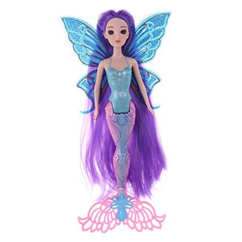 P Prettyia Elegante Prinzessin Meerjungfrau Puppe mit Schmetterling Flügel - Höhe: 30 cm - # 3 -