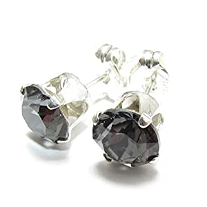 SILVER STUD EARRINGS MADE WITH SPARKLING BLACK DIAMOND SWAROVSKI CRYSTAL. HIGH QUALITY. LOW PRICES.