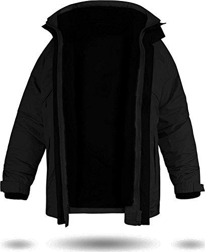 normani 3-in-1 wasserdichte Jacke mit herausnehmbarer Fleece-Innenjacke Farbe Schwarz Größe M