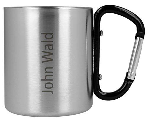 Lantelme Wunschgravur Survival Tasse Edelstahl individueller Gravur Becher mit Henkel für Wandern Outdoor graviert 7988