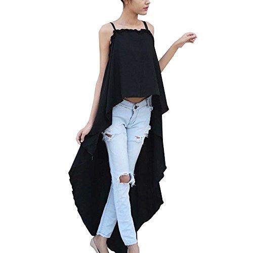 MRULIC Damen T-Shirt /Ärmellose Bluse mit Rundhalsausschnitt Einfarbig Herz R/üschen Unregelm/ä/ßig L/ässiges Tr/ägershirt Slim Fit Shirt