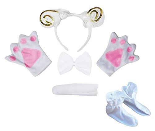 Petitebelle Stirnband Bowtie Schwanz Handschuhe Schuhe 5pc Kostüm Einheitsgröße Weiß Goldene Schaf Ziege