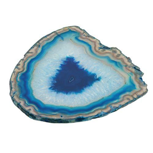 FLAMEER Natürliche Achat Scheiben Quarz Kristall Anhänger Schmuck DIY Machen - Blau