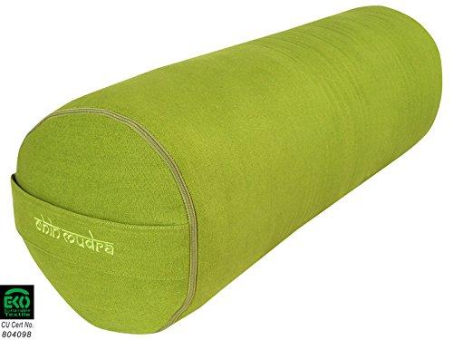 Chin Mudra Bolster de Yoga 100% Coton Bio 65 cm x 23 cm - Vert