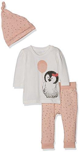 NAME IT Baby-Mädchen Langarmshirt Nitfilisa Top Set F NB, Rosa (Evening Sand), 80 (Pinguin-leggings)