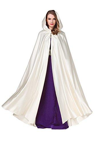 Umhänge Cape Damen mit Kapuze Satin Lang Hochzeit Braut Winter Abendkleid Brautkleid