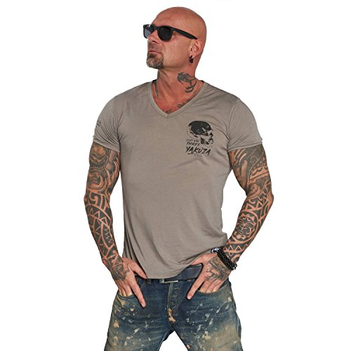 Yakuza Original Herren Burnout V-Neck T-Shirt (T-shirt Casual V-neck)