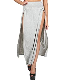 Womens Ladies Double Split Slit High Waisted Swing Long Jersey Skater Midi Skirt S/M (UK 8/10) Grey