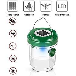 Umiwe Trampa de Avispas, Repelente de Abejas Solar Mosca de Fruta Receptor Asesino con Luz LED, Atrayente para Mosquitos, Insectos y Avispones, Ideal para Jardín y Patio (1pc)