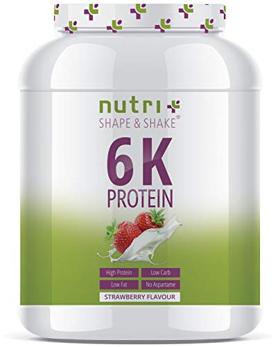 EIWEIßSHAKE ERDBEER 1kg - 6k-Protein-Pulver - Soja - Erbse - Mandel - Sonnenblume - Reis - Weizen - Zuckerfrei & kalorienarm - Nutri-Plus Shape & Shake ® Eiweißpulver Erdbeere