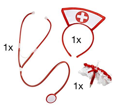 ekleidung Dessous Medizin Arzt Krankenschwester Krankenschwesterkostüm OP Nurse für Frauen an Fasching und Karneval mit Stethoskop, Kopfhaube, Spritze (Deutsch-kostüm Für Frauen)