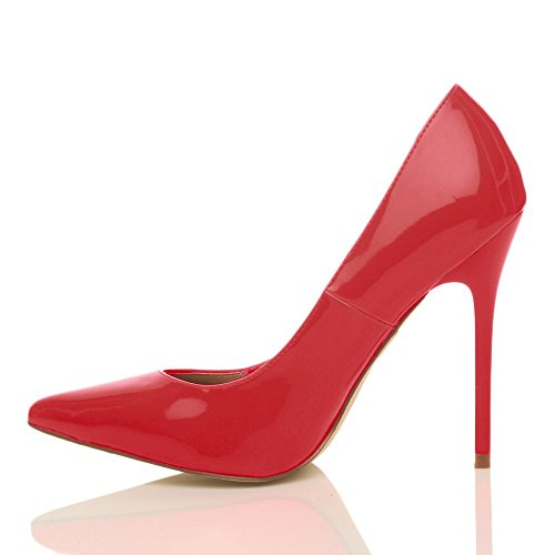 Femmes talon haut fête élégante escarpins de travail chaussures pointue taille Verni rouge