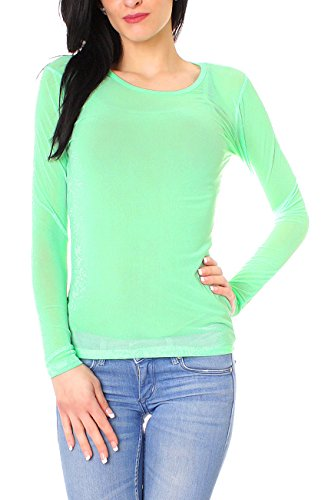 Easy Young Fashion Damen Mesh Shirt Langarm Mint
