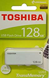 Toshiba TransMemory U203 PenDrive 128GB Slide Model with Metal Tip (THN-U203W1280A4) - White (128gb)