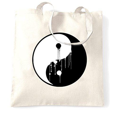 Dripping Ying Yang simbolo di amore di pace Armonia Twins Filosofia Sacchetto Di Tote White